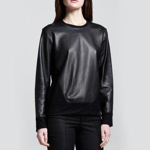 Helmut Lang Wool & Leather 50/50 Crewneck Sweater